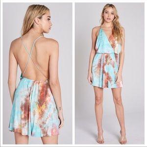 Blue Blush Dresses - CAPTIVATING TIe-Dye Dress (Coral)